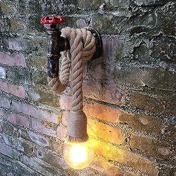 LINGJUN Vintage Lámpara Cuerda Cañamo Lámpara de Pared Apliques ...