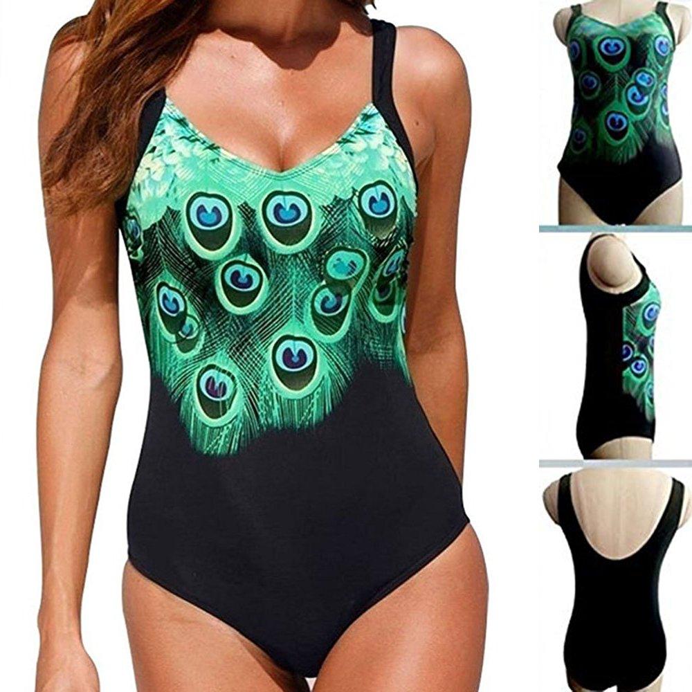 KINDOYO Womens Tankini One Piece Swimwear Ladies Bikini Swimsuit Triangle Soft Adjustable V-Neck Peacock Print