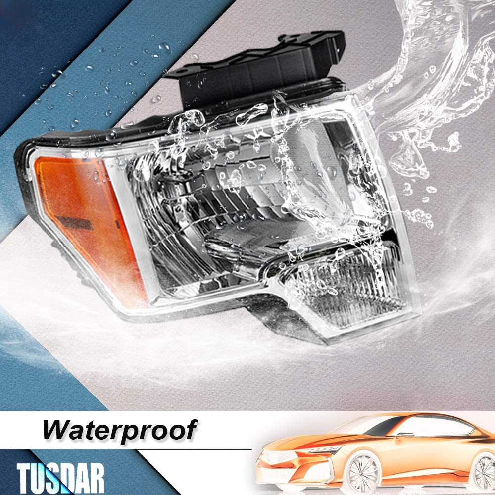 Chrome Amber Housing Headlight Assembly Set Replacement for 2009-2014 Ford F150 Factory Halogen Headlights with Chrome Housing Amber Reflector Front Lights Set