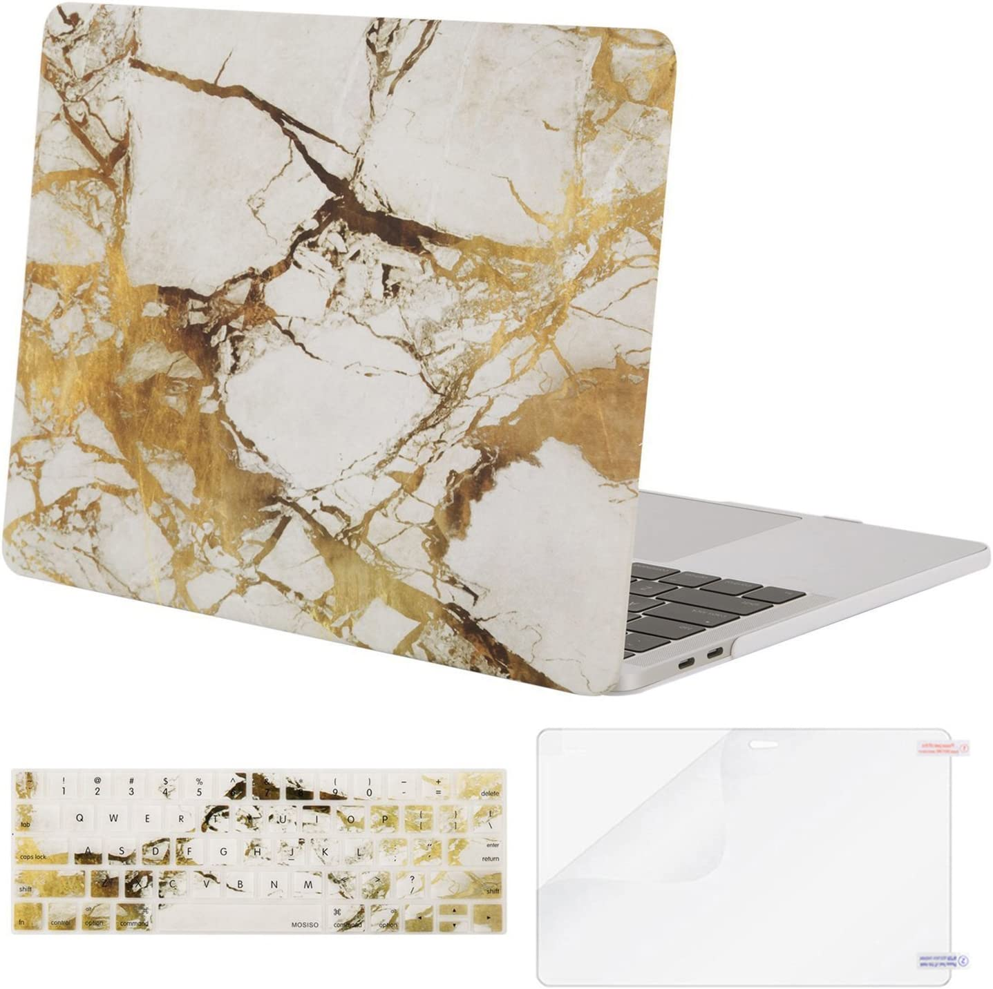 MOSISO MacBook Pro 13 inch Case 2019 2018 2017 2016 Release A2159 A1989 A1706 A1708, Plastic Pattern Hard Shell Case&Keyboard Cover&Screen Protector Compatible with MacBook Pro 13, White Gold Marble