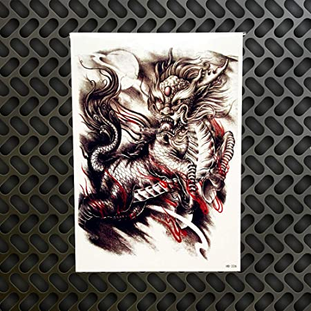 GVDTYKJF Tatuajes Temporales 1 Unid Flying Dragon Sketch Tatuajes ...