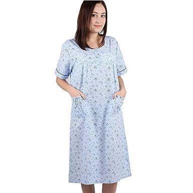 Global Premium 100% Cotton Blue Women s robe Short sleeves thin Nightgown  Small 3260e487d