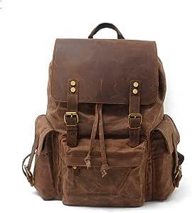 "SVANZE Vintage Canvas Leather Laptop Backpack for Men School Bag 15.6"" Waterproof Travel Rucksack"
