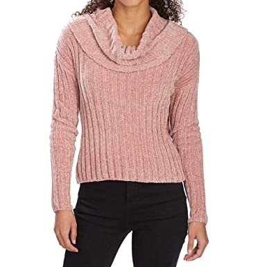 e290554da9b988 Almost Famous Juniors  Ribbed Chenille Knit Cowl Neck Crop Top Dusty Rose M