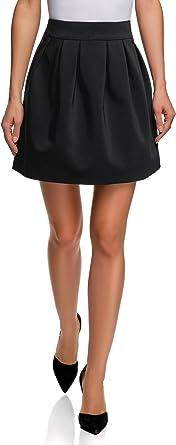 oodji Ultra Mujer Falda Acampanada con Pliegues Suaves, Negro, ES ...