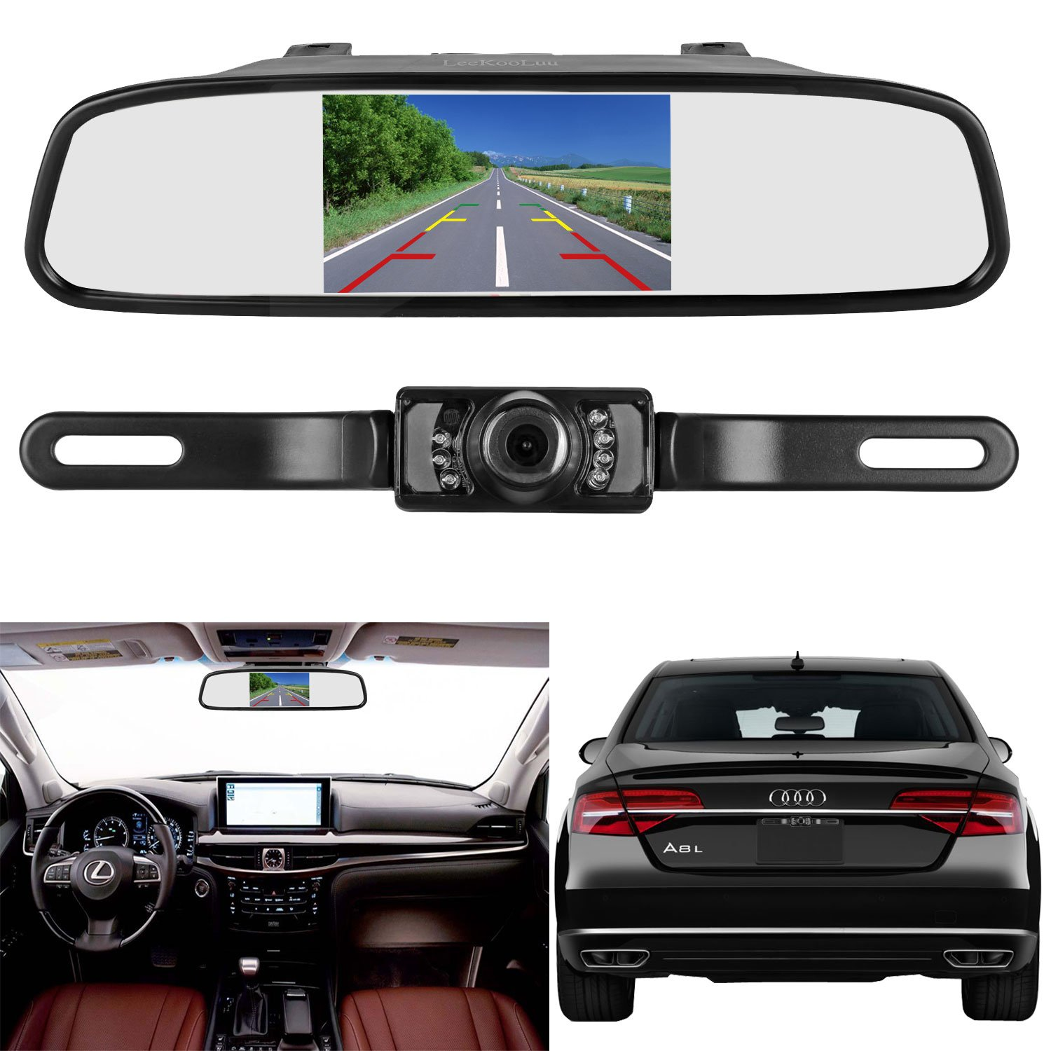 LeeKooLuu Reverse/Rear View Camera and Mirror Monitor Kit Only wire Single  Power Rear view