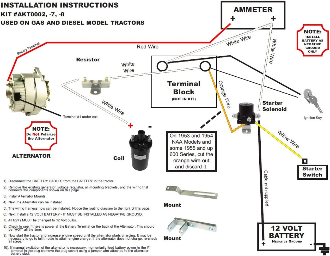Amazon.com: Rareelectrical NEW ALTERNATOR CONVERSION KIT COMPATIBLE WITH  FORD NAA TRACTOR GENERATOR 851 860 881 901 960: Automotive | Ford Tractor 12v Wiring Diagram |  | Amazon.com