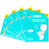 Toilet Seat Covers Disposable - 6 Pack of 60 XL Flushable Protective Paper Liners for Adults and Kids - Portable On-the…