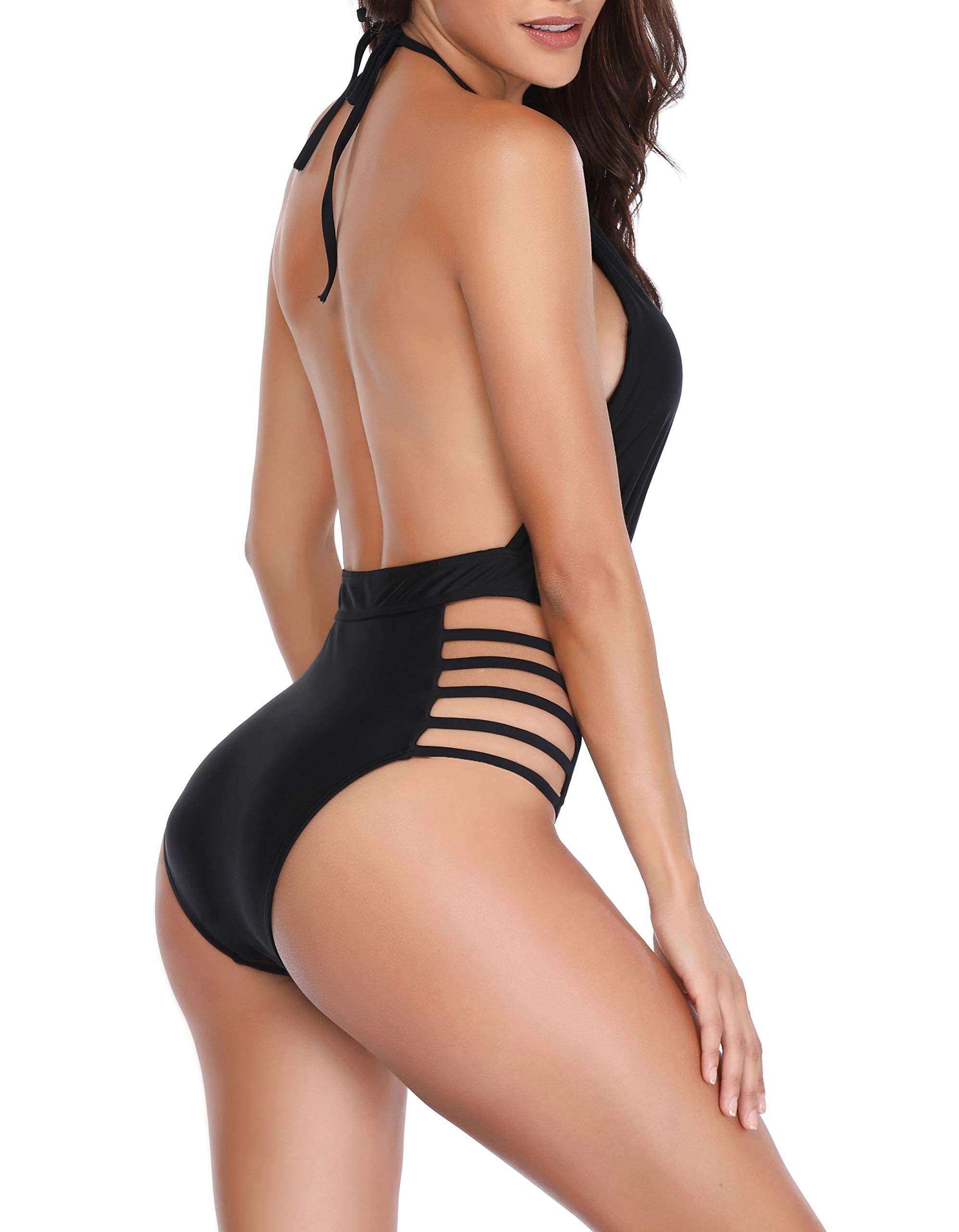Yong Dong Sexy One Piece Monokini Swimsuits for Women Halter V Neck Plunge Lace Up Bathing Suits Black M