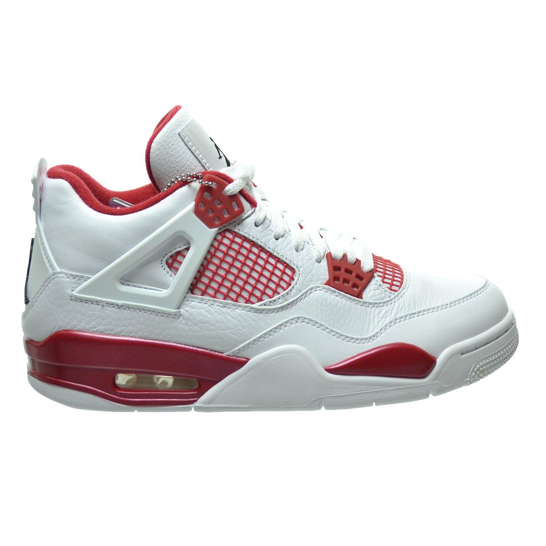 Weiß, schwarz-gym rot Nike Herren Air Jordan 4 Retro Fitnessschuhe