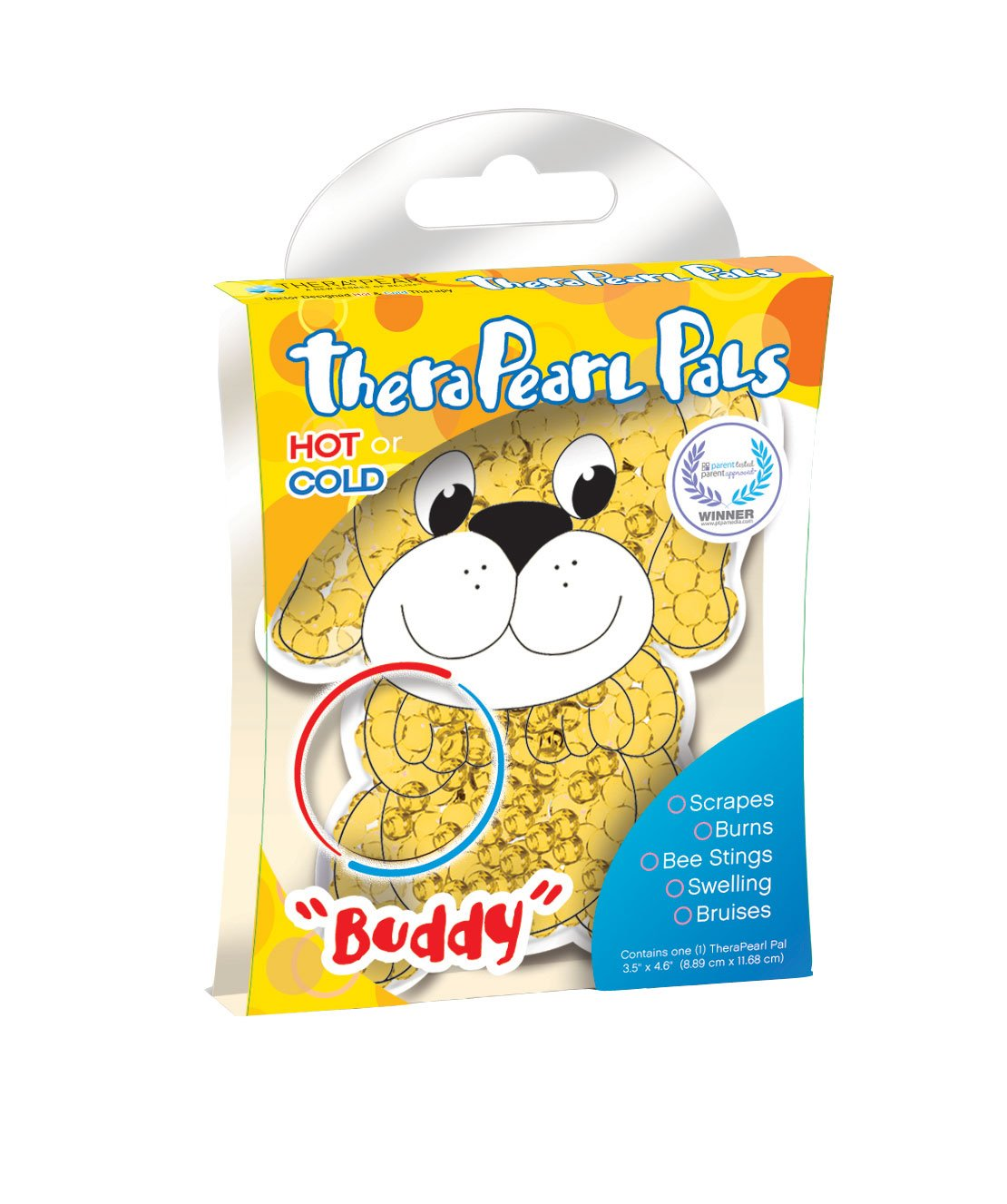 TheraPearl Children's Pals, Buddy the Puppy, Reusable Hot Cold Therapy Pack, Non Toxic Reusable Animal Shaped Hot Cold Therapy Pack, Flexible Compress for Injuries, Swelling, Pain Relief, Bee Stings