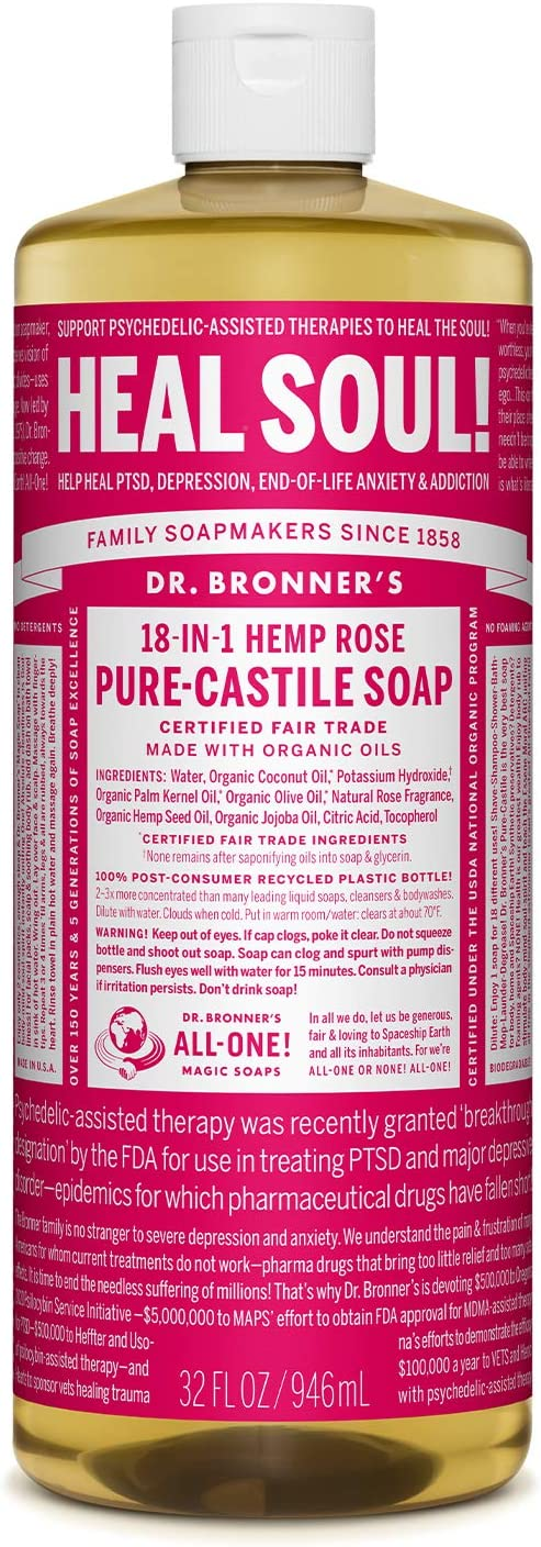 Dr. Bronner's Pure-Castile Liquid Soap in Hemp Rose