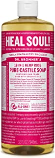 product image for Dr. Bronner's - Pure-Castile Liquid Soap (Rose, 32 ounce) - Made with Organic Oils, 18-in-1 Uses: Face, Body, Hair, Laundry, Pets and Dishes, Concentrated, Vegan, Non-GMO