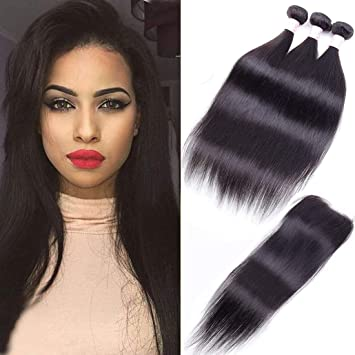 10A Peruvian Virgin Straight Hair 3 Bundles with Free Part Closure 26 28 30  with 20) 100% Unprocessed