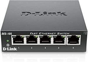D-Link Fast Ethernet Switch, 5 Port Unmanaged 10/100 Metal Fanless Desktop or Wall Mount Design (DES-105)