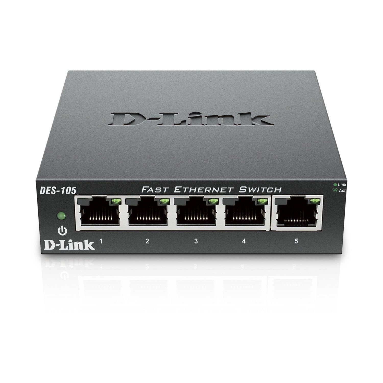 D-Link 5 Port 10/100 Unmanaged Metal Desktop Switch (DES-105) by D-Link