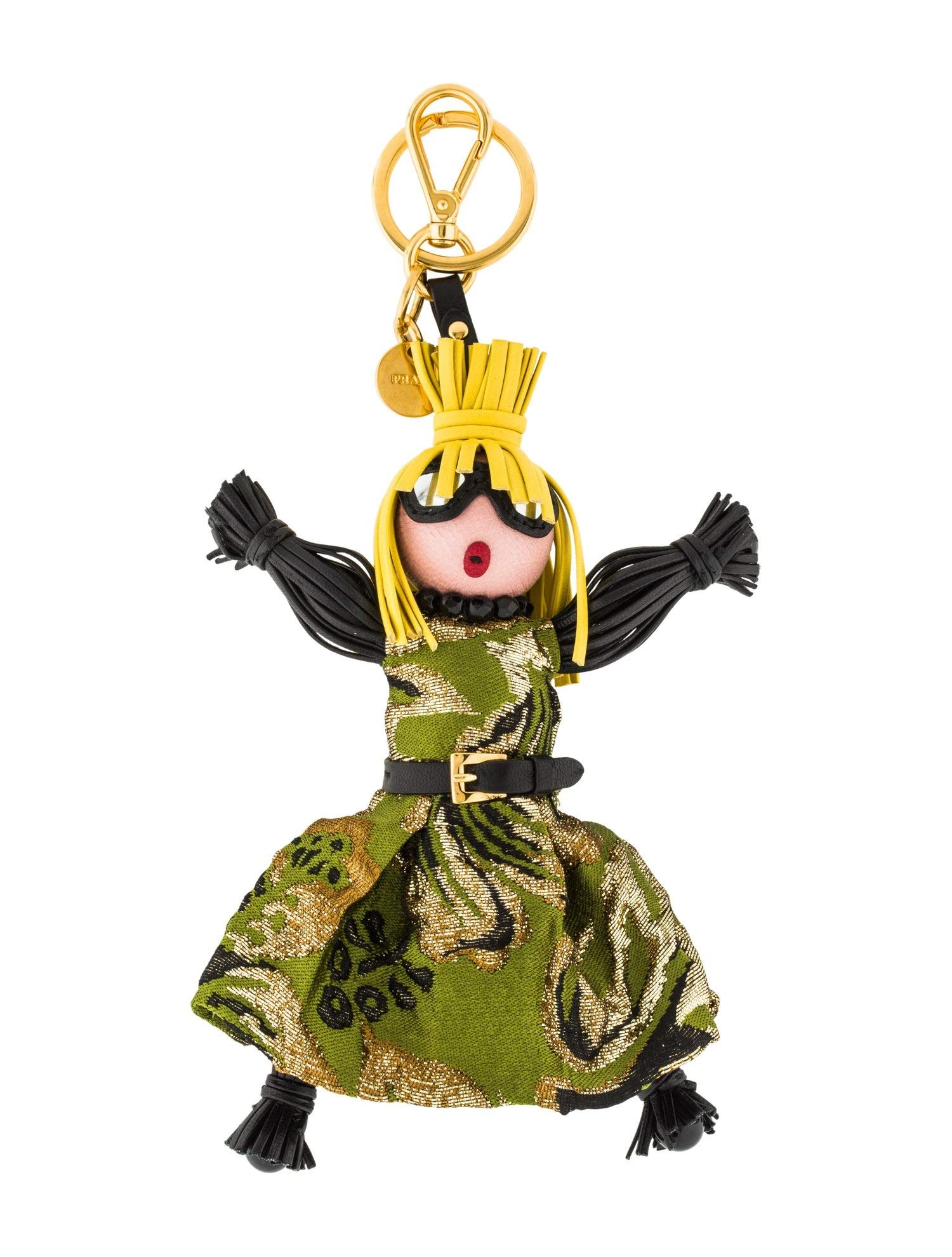 Prada Trick Pelle Felce Green Dress Jasmine Doll Keyring 1TL171 by Prada (Image #1)