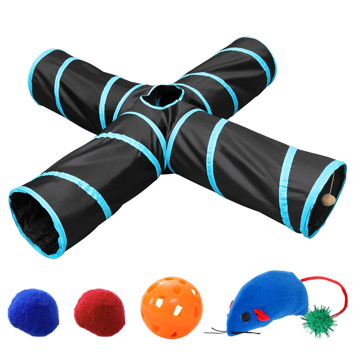 UEETEK Pet Cat Tunnel, Collapsible 4 Way Cat Play Tunnel Toy with 4 Extra Cat Toys Tube Fun for Puppy, Kitty, Kitten, Rabbit by UEETEK
