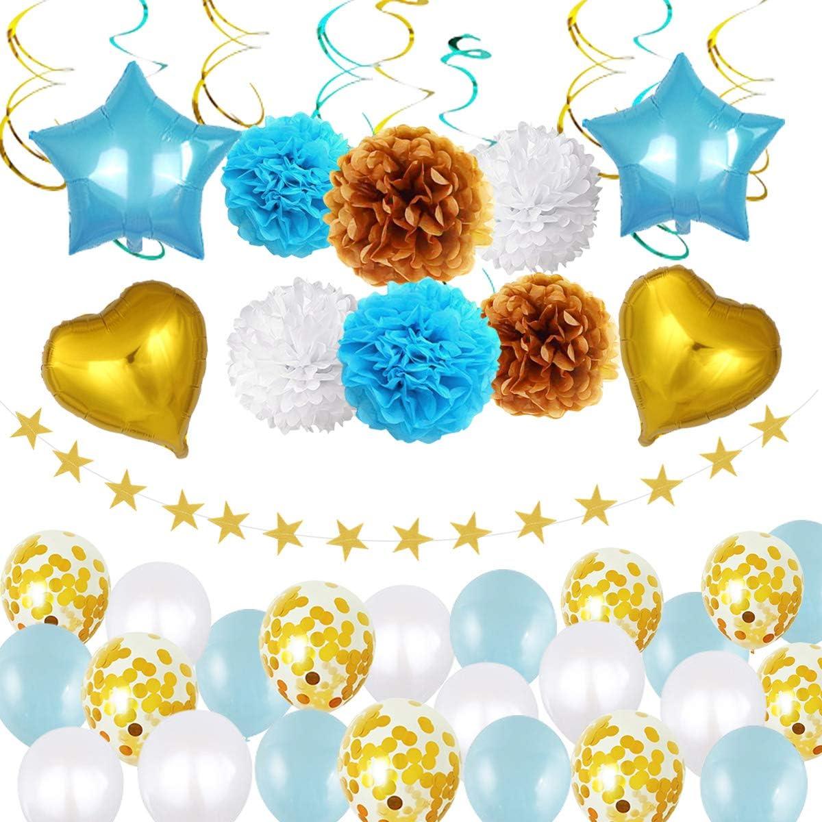 40 Piezas Kit Decoración Fiesta Cumpleaños, Pompones de Papel Globos Confeti Papel de Aluminio Globos, Serpentinas y Estrella Guirnalda, Azul Blanco Suministros de Fiesta para Niños Hombres
