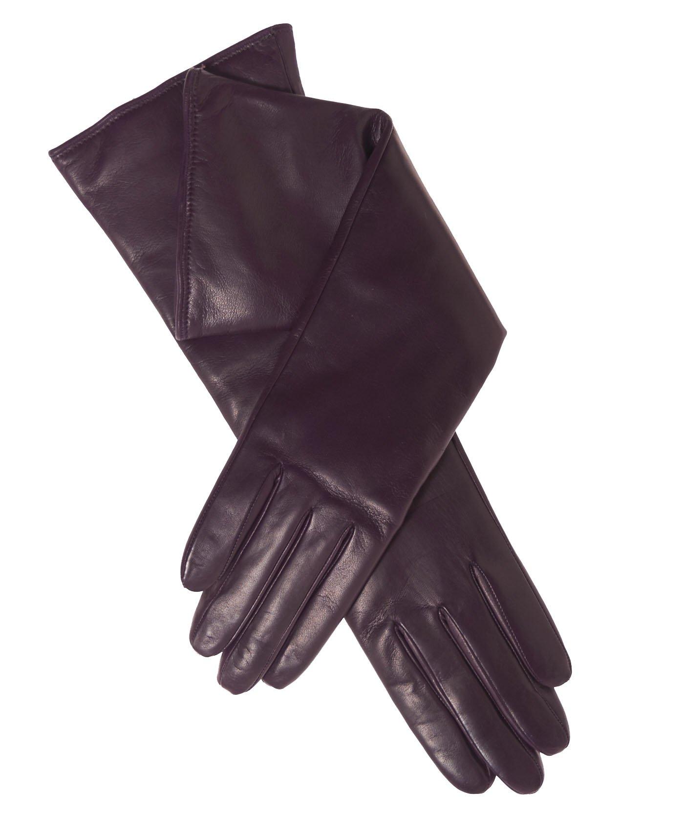 Fratelli Orsini Women's Italian''6 Button Length'' Cashmere Lined Leather Gloves Size 8 Color Blackgrape