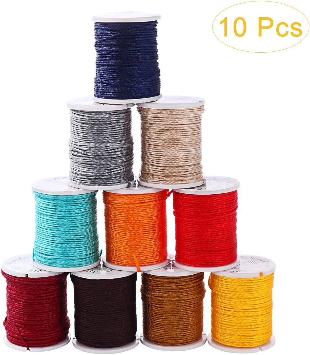 Bule Nylon Beading String Knotting Cord 0.8mm Nylon Cord Thread Chinese Knot Macrame Rat-Tail Bracelet Braided String