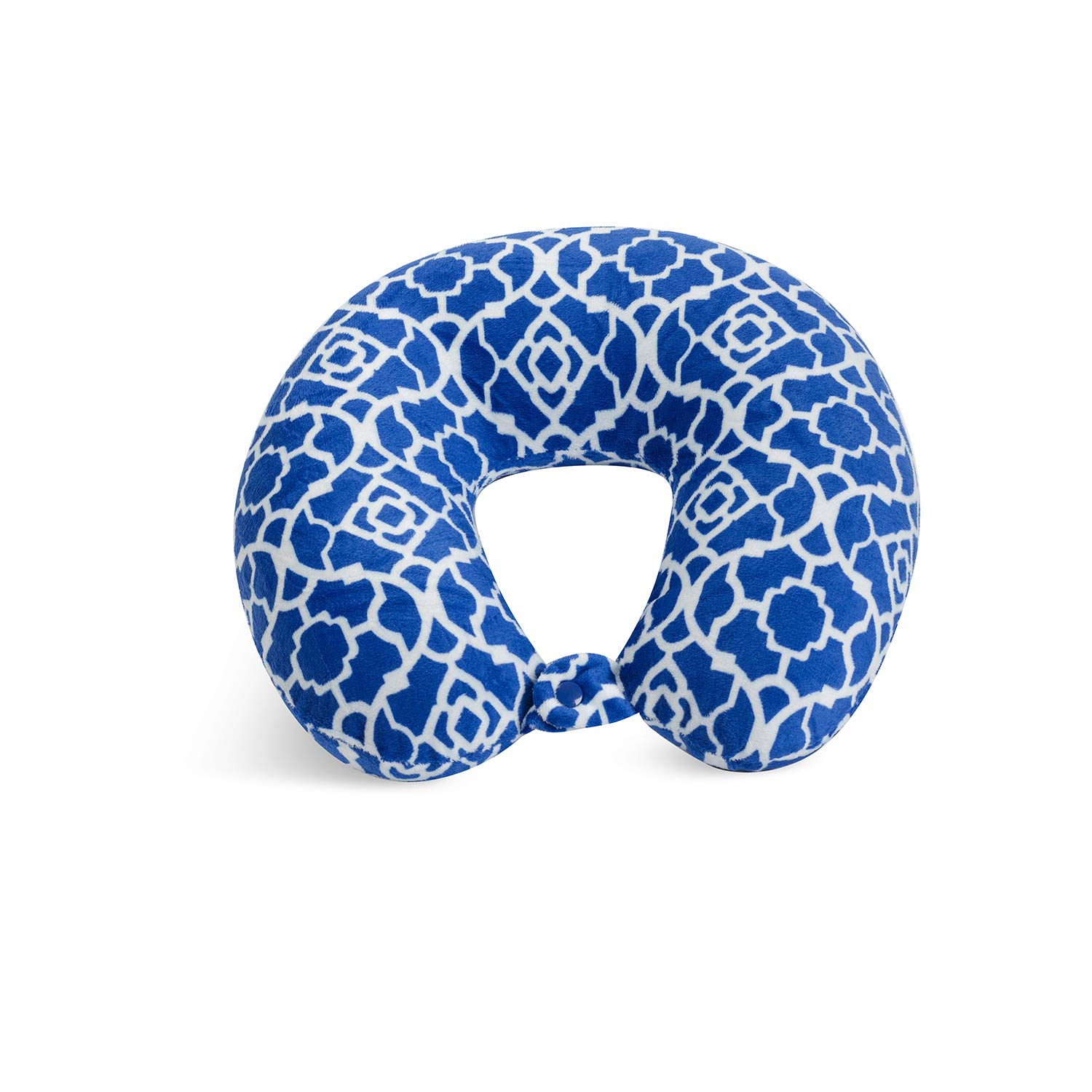 World's Best Feather Soft Microfiber Neck Pillow, Cobalt Blue Trellis, Neck-Supportive Travel Pillow by World's Best (Image #1)