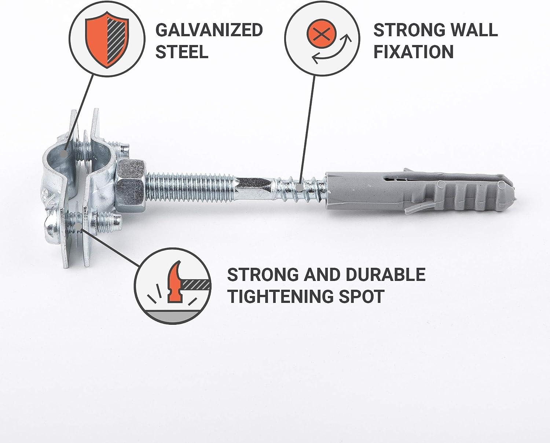 Metallrohrhalterungen Klammern Klemmen f/ür Rohre mit einem Durchmesser von 15 bis 19 mm 4 4 St/ück