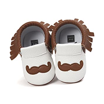 Hongfei 6-12 Months(Brown) Baby Moccasins, PU Leather Soft Sole Tassel