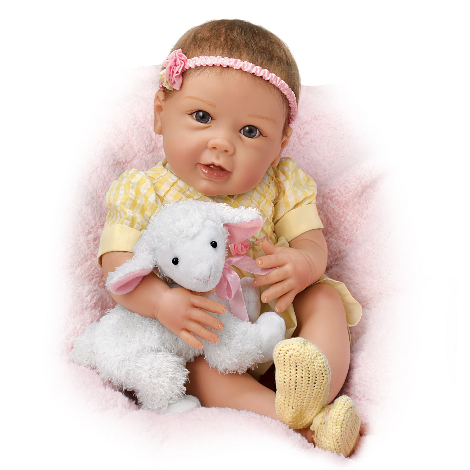 Littles Lamb Ashton Drake Baby Doll With Toy Lamb by Linda Murray by The Ashton-Drake Galleries