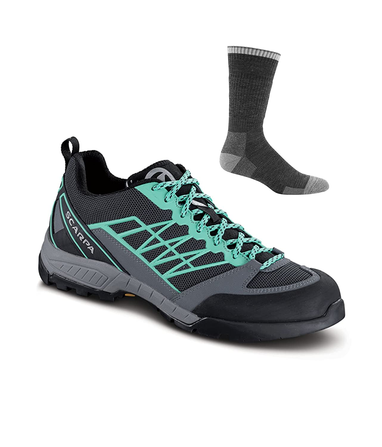 SCARPA Women's Epic Lite Wmn Hiking Shoe B06X6HW6X3 42 M EU|Dark Grey/Jade W/ Sock