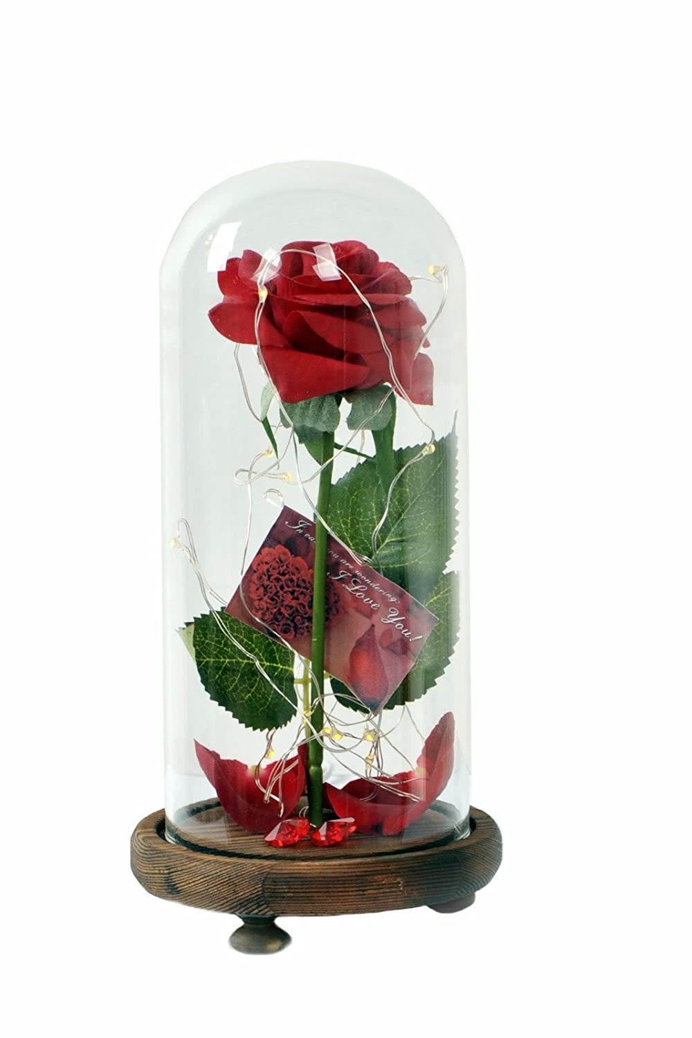 beauty magic rose that turns every beast in our lives into something beautiful, it's an artificial red rose with LED light & Fallen Petals In a glass dome & wooden base with love card & a small heart shape glass yajouri-(1996)ltd