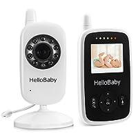 HelloBaby Monitor Video sin Hilos del Bebé de con la Cámara de Digitaces, Supervisión de la Temperatura de la Visión Nocturna y Sistema de la Manera 2 Talkback, Blanco