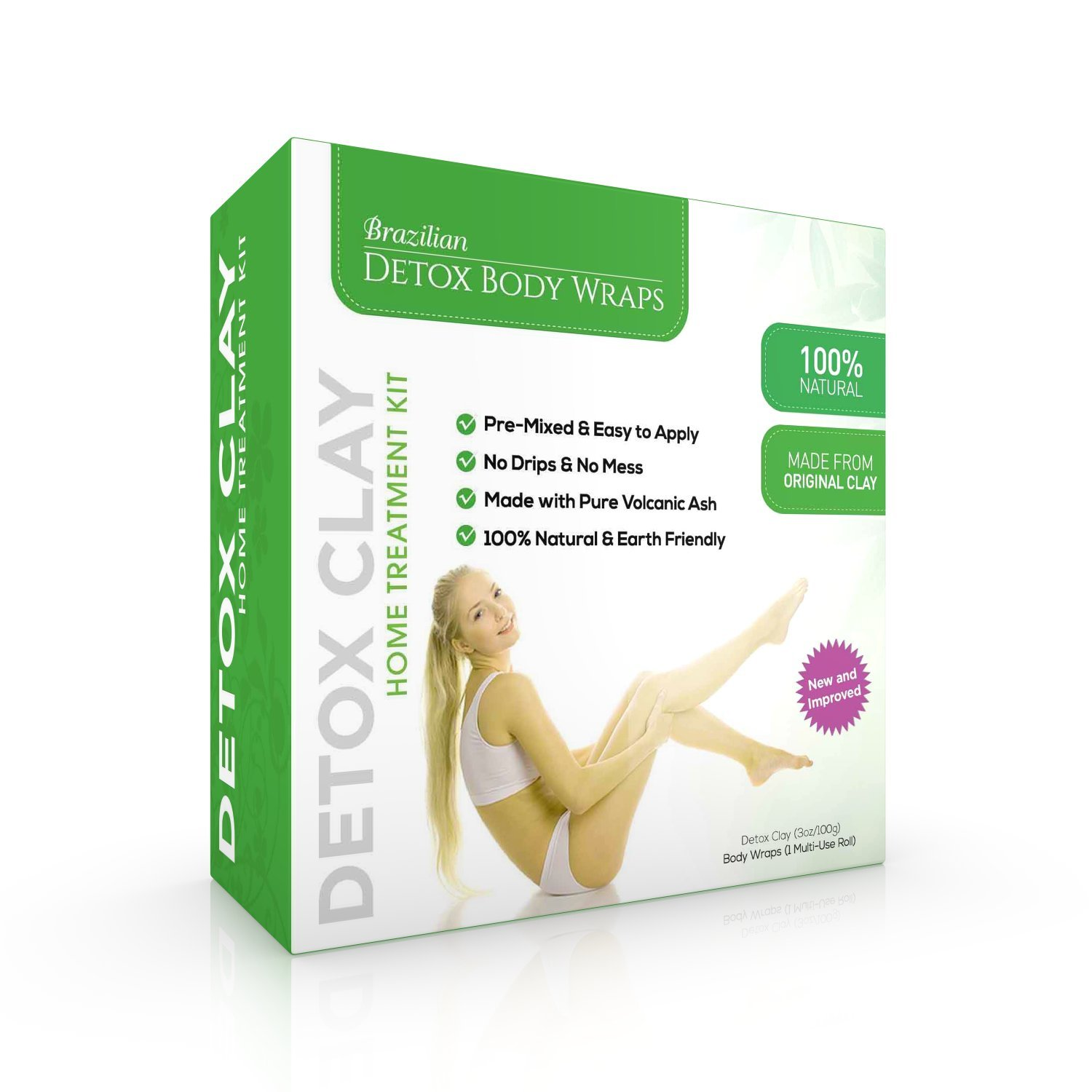 Brazilian Detox Clay Body Wraps (10-Applications) Slimming Home Spa Treatment for Cellulite, Weight Loss, Stretch Marks | Natural, Purifying Detoxifier for Smooth, Toned Skin (10 Applications) by Brazilian Slimming Tea