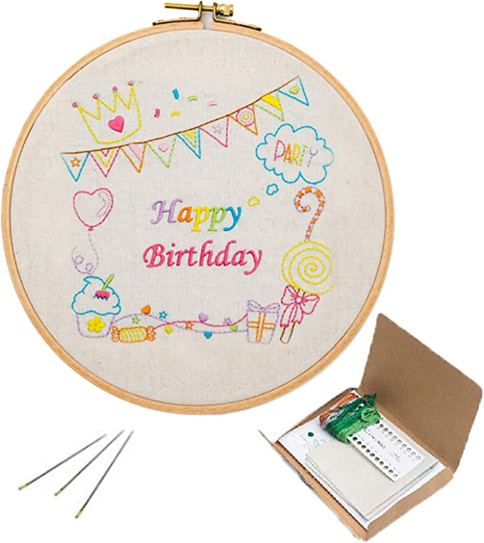 Full Range of Embroidery Starter Kit with Pattern Color Threads and Tools Kit Kit 1 Bamboo Embroidery Hoop SevFan Cross Stitch Kit Including Embroidery Cloth with Pattern