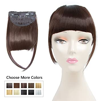 Fashion Clip in Bangs Dark Brown Fringe Hair