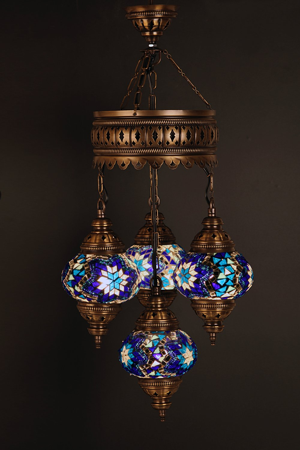(Height: 27.6 in) Mosaic Chandelier Set 3 Globes, Handmade Authentic Tiffany Lighting Moroccan Lamp Glass Stunning Bedside Night Lights Brass&Glass Ottoman Turkish Style