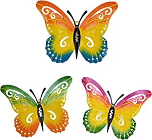 HOGARDECK Metal Butterfly Wall Decor - Wall Art Decorations Hanging for Kitchen, Outdoor, Fence, Garden, Yard, Set of 3 Butterflies Ornament, Handmade Gift for Indoor or Outdoor, Gift for kids