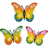 hogardeck Metal Butterfly Wall Decor, 3 Pack Metal Wall Art Butterfly Decorations Hanging for Patio, Fence, Garden, Yard, Out