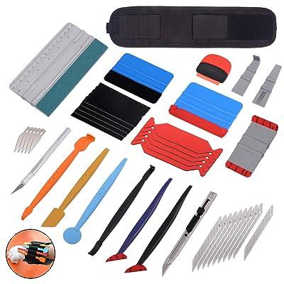 GOMAKE Professional Window Tint Tool Set Include Wrist Tool Pocket, 4 Inch Vinyl Wrap Plastic Felt Squeegee, Micro Magnet Squeegee Set, Scraper, Art Knife and Vinyl Cutter: Home Improvement [5Bkhe0806798]