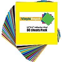 "VinylsDepot (Pack of 80) Permanent Adhesive Vinyl Sheets for Cricut Vinyl Projects - 12"" X 12"" Vinyl Sheets, Assorted…"