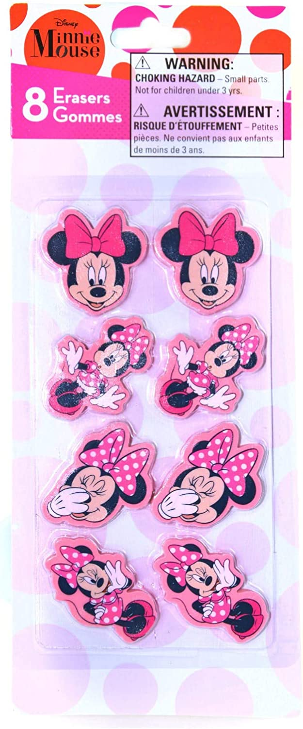 Disney Minnie Mouse Shaped Erasers Pink School and Art Supplies Pack of 8