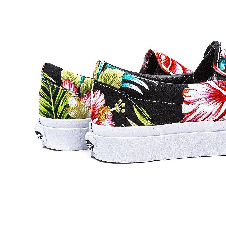 Furgonetas Clásico Slip-on Negro Floral Hawaiano ZHqNYxsncH