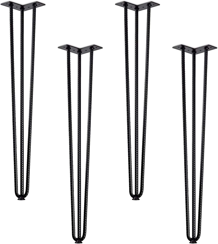 12mm DIY Schwarz M/öbel Metall Tischbeine mit Schutzf/ü/ßen und Schrauben f/ür Schrank Nachttisch Kleiderschrank TV-Schr/änke Bestine Haarnadel Tischbeine 4 St/ück Schubladen
