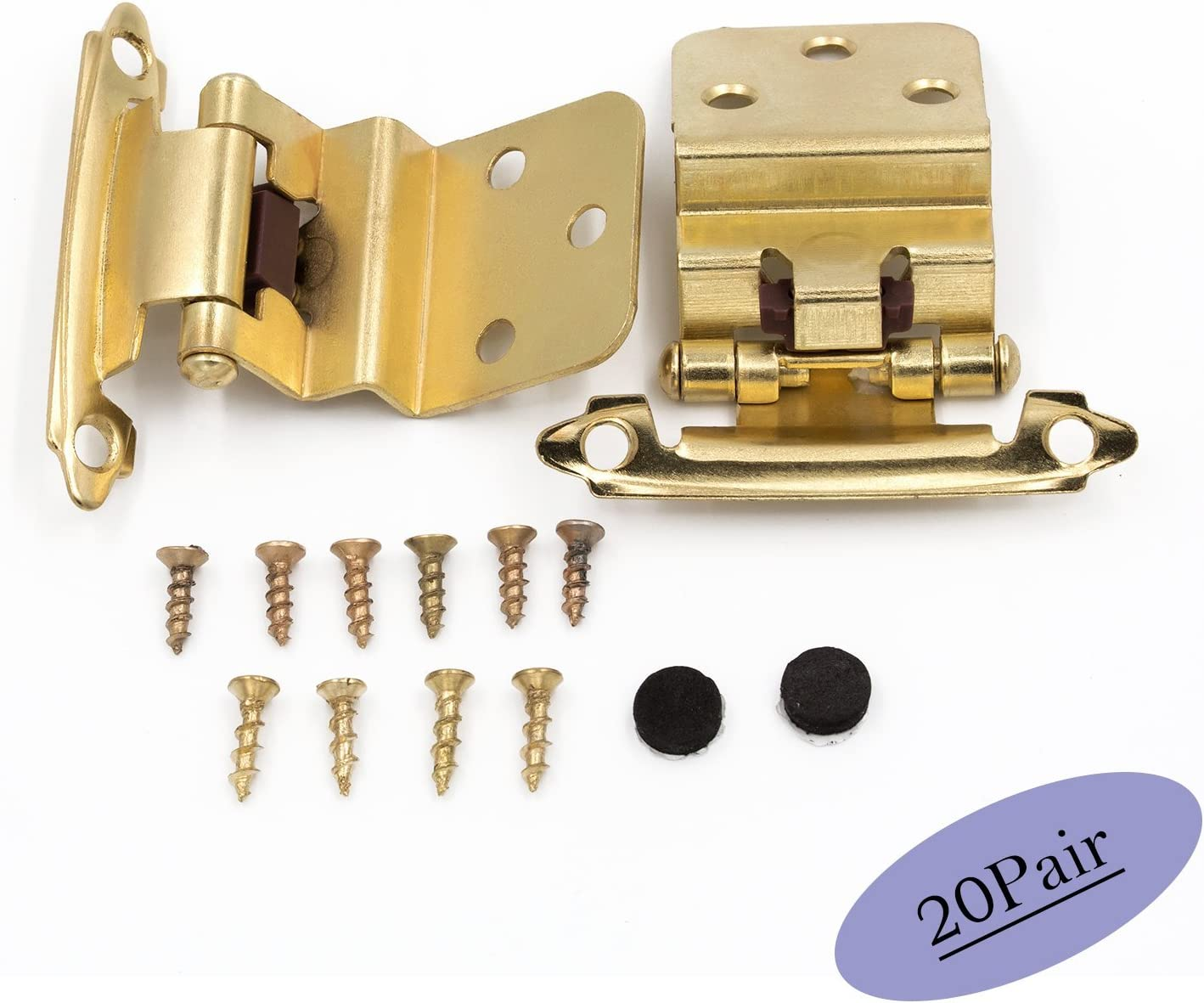 Inset 15 Pair Goldenwarm Self-Closing Hinge Face Mount for Kitchen Cabinet Cupboard Door SCH38BB 3//8in Brushed Brass Inset Hinges 10mm