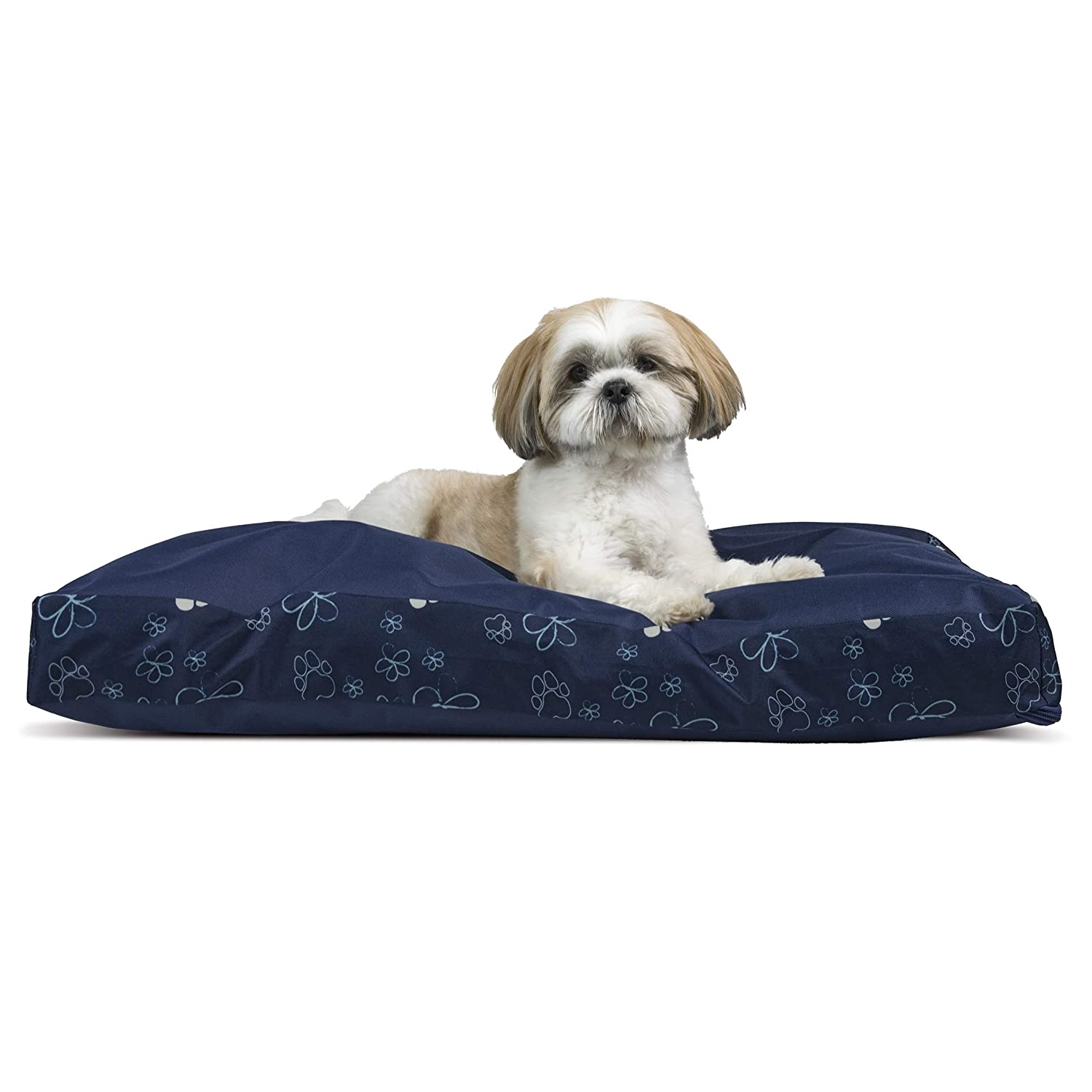Furhaven Pet Dog Bed - Deluxe Water-Resistant Indoor-Outdoor Garden Pillow Cushion Traditional Mattress Pet Bed with Removable Cover for Dogs and Cats, Lapis Blue, Medium