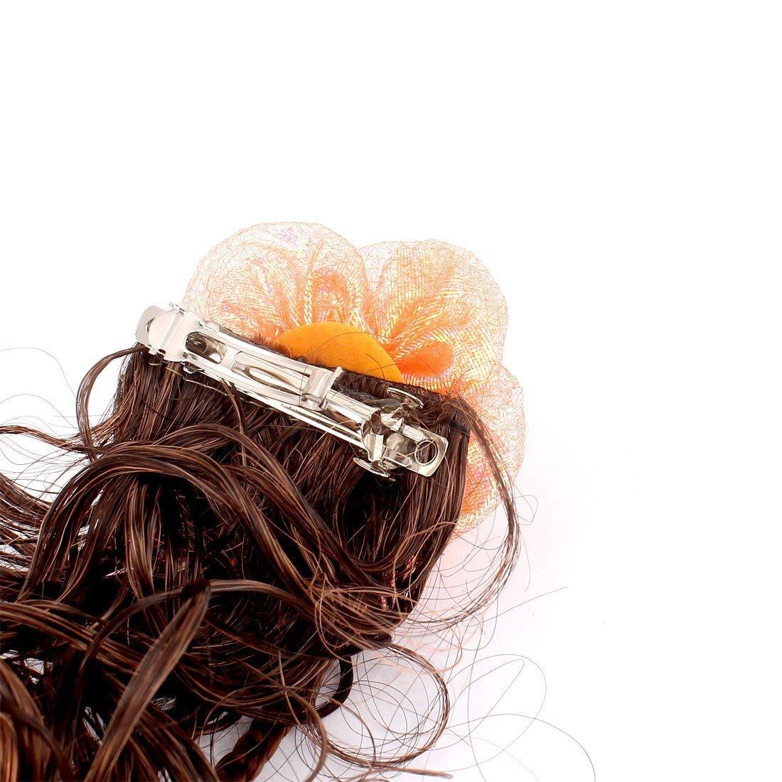 DealMux decoración flor ondulado peluca rizada chicas francesas clip Hairclip Marrón Naranja: Amazon.es: Belleza