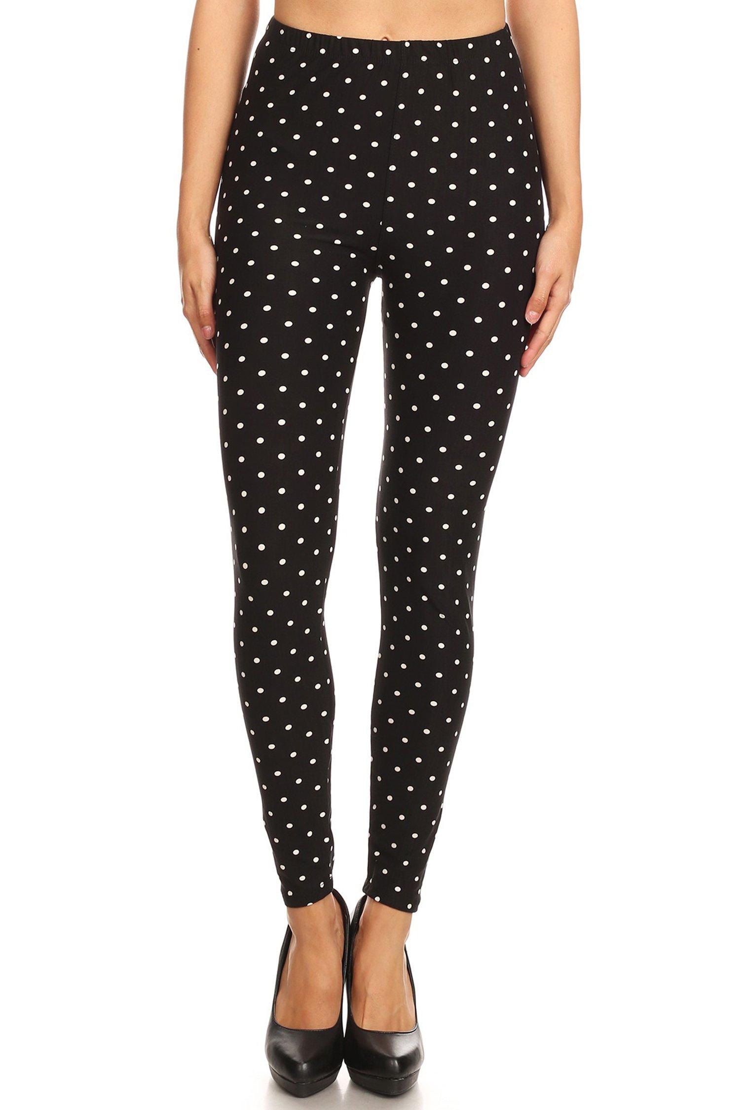 Leggings Mania Women's Polka Dot Print High Waist Soft Leggings Black