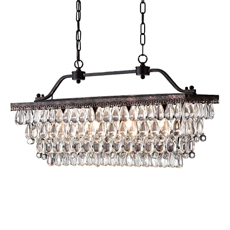 Edvivi 4 Light Antique Bronze Rectangular Linear Crystal Chandelier Dining Room Ceiling Fixture