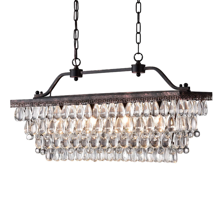 Edvivi 4-Light Antique Bronze Rectangular Linear Crystal Chandelier Dining Room Ceiling Fixture Light | Glam Lighting