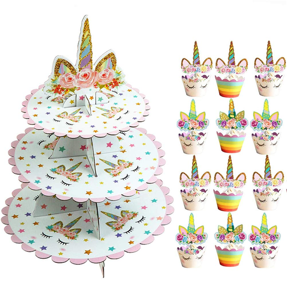 SUSHAFEN 12Pcs Unicorn Cupcake Toppers and Wrappers+1 Set 3 Tier Unicorn Cupcake Stand Cardboard Dessert Cupcake Holder for Kids Birthday Wedding Party Cake Decoration Unicorn Party Favors Supplies by SUSHAFEN